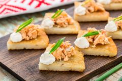 Crepes de patata con el teriyaki de color salmón Foto de archivo libre de regalías