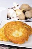 Crepes de patata con los ingredientes Imagen de archivo libre de regalías