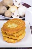 Crepes de patata con los ingredientes Foto de archivo