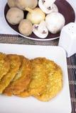 Crepes de patata con los ingredientes Fotografía de archivo