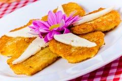 Crepes de patata con queso en la placa blanca Imagen de archivo libre de regalías