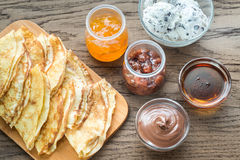 Crepes with different options of toppings Stock Photography