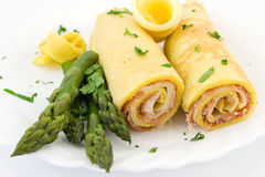 Crepes enchidos com o doce do presunto e do provolone Imagem de Stock Royalty Free