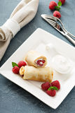 Crepes filled with cottage cheese and raspberry Royalty Free Stock Photo