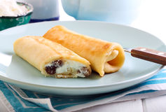 Crepes filled with cream cheese Royalty Free Stock Image