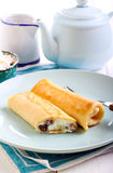 Crepes filled with cream cheese Royalty Free Stock Images