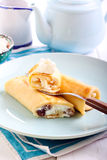 Crepes filled with cream cheese Stock Photography