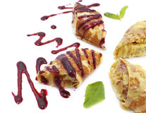 Crepes filled with fruit and jam, close up Stock Photography