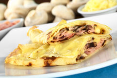 Crepes Filled with Ham, Cheese and Mushroom Stock Image