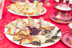 Crepes filled with poppy and raspberry syrup Stock Images