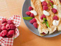 Crepes. French thin delicious crepes made from eggs milk, flour and vanilla esence, traditional recipe in many french restaurant recipe Royalty Free Stock Image