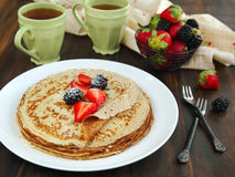 Crepes with fresh berries Stock Photos