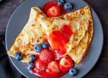 Crepes with fresh berries Royalty Free Stock Images
