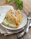 Crepes with fresh herbs Royalty Free Stock Images