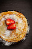 Crepes with fresh strawberries Royalty Free Stock Image