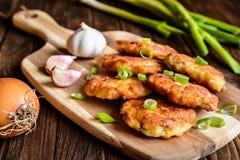 Crepes fritas del atún con la patata, la cebolla y el ajo Fotografía de archivo