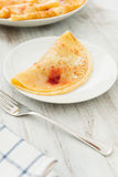Crepes with fruit and cream Stock Photos