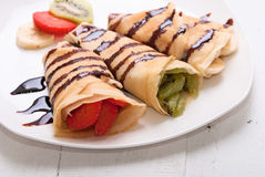 Crepes. With fruits (strawberry, banana,  kiwi Stock Photos
