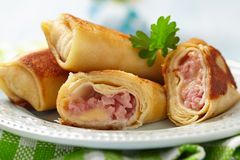 Crepes with ham and cheese Royalty Free Stock Image