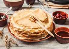 Crepes are homemade. Pancakes. stock images