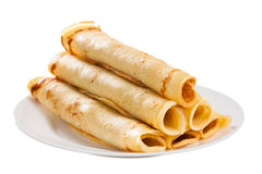 Crepes. Homemade crepes with pork on white background stock images