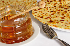 Crepe / Crepes / Pancake / Pancakes with honey Royalty Free Stock Photography