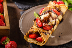 Crepes with ice cream Royalty Free Stock Images