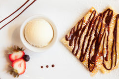 Crepes and Ice Cream Stock Images