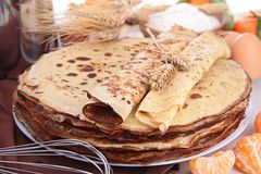 Crepes and ingredient Stock Images