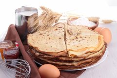 Crepes and ingredient Stock Image