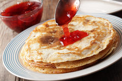 Crepes with jam Royalty Free Stock Photography