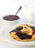 Crepes with confiture Stock Images