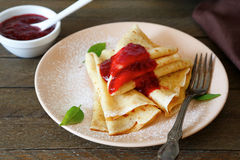 Crepes with jam Royalty Free Stock Photos