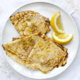Crepes with Lemon and Sugar Top View Stock Image