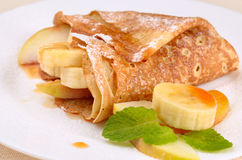 Crepes with maple sirup Stock Photo