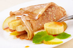 Crepes with maple sirup Royalty Free Stock Image