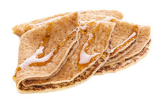 Crepes with Maple Syrup. Commercially produced crepes or pancakes with maple syrup Royalty Free Stock Photo