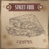 Crepes with meat, cheese and mushrooms sketch on grunge background Stock Photo
