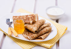 Crepes with orange jam Royalty Free Stock Images