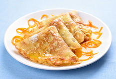 Crepes with orange syrup Stock Photo
