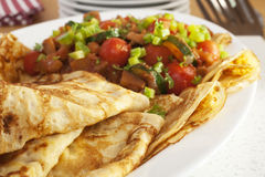 Crepes Pancakes with Ratatouille Royalty Free Stock Photography