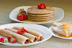 Crepes and pancakew table Stock Images