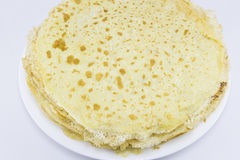 Crepes. Plate with delicious French pancakes, ready for breakfast Stock Image