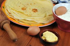 Crepes in a plate with its ingredients around royalty free stock image