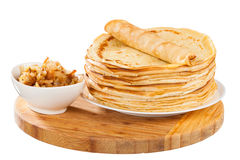 Crepes. With pork isolated on white background royalty free stock image