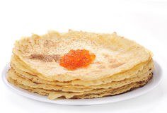 Crepes with red caviar Royalty Free Stock Images
