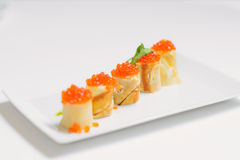 Crepes with salmon caviar and cheese Royalty Free Stock Images