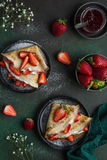 Crepes served with cream cheese and fresh strawberry, Royalty Free Stock Photo