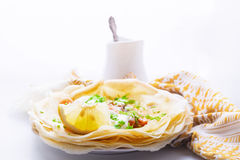 Crepes with smoked salmon. Crispy crepes with smoked salmon  and  cream cheese Royalty Free Stock Photo
