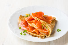 Crepes with smoked salmon Stock Photos